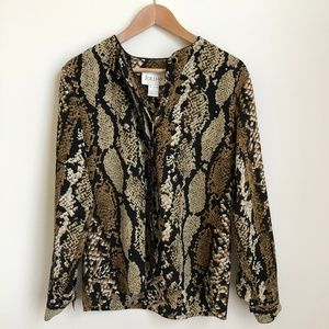 VINTAGE/ animal print boxy top blouse